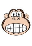 Monkey 1. Cute monkey face with funny toothy expression Stock Photo