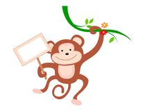 Monkey. Cute little monkey hanging from a branch with a notice board illustration isolated on white background Royalty Free Stock Images
