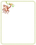Monkey. Cute little monkey hanging from a branch illustration with border / frame Royalty Free Stock Photos