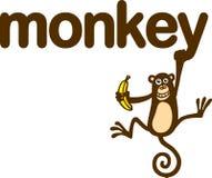 Monkey. A monkey's hanging around eating a banana Royalty Free Stock Image