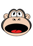 Monkey 2. Cartoon Monkey Face in a shocked expression Royalty Free Stock Photos