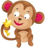 Monkey. Illustration of isolated cartoon monkey with banana on white Stock Images