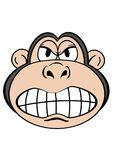 Monkey 3. Cute Monkey face with funny facial expression Stock Illustration