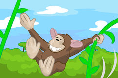 Monkey. A cute monkey swinging through the trees stock illustration