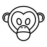 Monkey. Outline cartoon head of monkey isolated on white background Royalty Free Stock Image