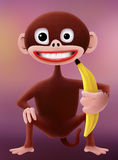 Monkey. A smiling cartoon monkey character holding a banana Stock Image