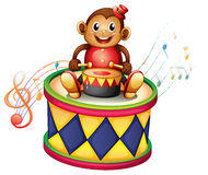 A monkey above a big drum Stock Photo