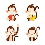 Monkey Actions Set Stock Image
