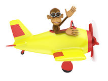 Monkey in airplane Stock Photography