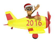 Monkey in airplane. Monkey with a Santa hat on his head in an airplane with the inscription 2016 Royalty Free Illustration