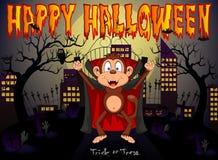 Monkey al vampiro con el fondo de la ciudad para el ejemplo del vector del feliz Halloween Imagen de archivo