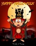 Monkey al vampiro con el fondo del castillo para el ejemplo del vector del feliz Halloween Imágenes de archivo libres de regalías