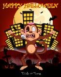 Monkey al zombi con el fondo de la ciudad para el ejemplo del vector del feliz Halloween Fotos de archivo