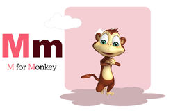 Monkey with alphabet. 3d rendered illustration of Monkey with alphabet Royalty Free Stock Photography