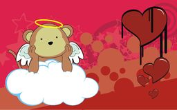 Monkey angel cherub baby cartoon cloud background Royalty Free Stock Image