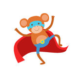 Monkey Animal Dressed As Superhero With A Cape Comic Masked Vigilante Character. Part Of Fauna With Super Powers Flat Cartoon Vector Collection Of Stock Photos