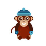 Monkey animal fun character vector illustration. Fun monkey silhouette isolated vector illustration. Traditional horoscope animal design. Zodiac graphic primate Royalty Free Stock Image