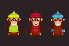Monkey animal fun character vector illustration. Fun monkey silhouette isolated vector illustration. Traditional horoscope animal design. Zodiac graphic primate Stock Photos