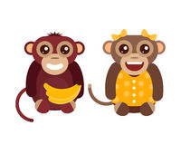 Monkey animal fun character vector illustration. Fun monkey silhouette isolated vector illustration. Traditional horoscope animal design. Zodiac graphic primate Stock Photo