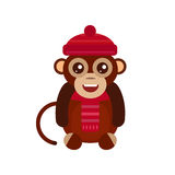 Monkey animal fun character vector illustration. Fun monkey silhouette isolated vector illustration. Traditional horoscope animal design. Zodiac graphic primate Stock Photography