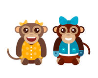 Monkey animal fun character vector illustration. Fun monkey silhouette isolated vector illustration. Traditional horoscope animal design. Zodiac graphic primate Royalty Free Stock Photography