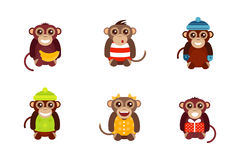 Monkey animal fun character vector illustration. Fun monkey silhouette  vector illustration. Traditional horoscope animal design. Zodiac graphic primate nature Royalty Free Stock Photography