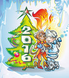 Monkey. Ape and girl dancing at the Christmas tree with the figure in 2016 and New Year's balls and a streamer Stock Photography