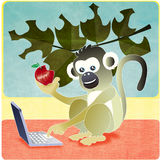 Monkey apple laptop Stock Image