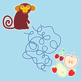 Monkey and apple pear  Stock Images