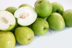 Monkey apple sweet fruit from Thailand sweet like green apple. Fruit jelly, spherical or oval shape Some spherical species like Sapodilla. In Thailand, there are Stock Images