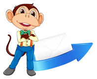 Monkey, arrow and envelop Stock Images