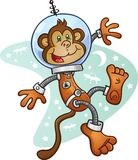 Monkey Astronaut Cartoon Character in a Space Suit. A monkey astronaut wearing a space suit and helmet, floating in zero gravity in front of a retro space Stock Photography