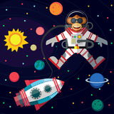 Monkey astronaut in outer space in flat style. Christmas greeting card: Merry Christmas and amazing space New Year. Monkey astronaut in outer space in flat Royalty Free Stock Photo
