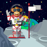 Monkey astronaut in outer space in flat style. Christmas greeting card: Merry Christmas and amazing space New Year. Monkey astronaut in outer space in flat Stock Photo
