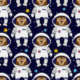 Monkey astronaut and stars in space, seamless pattern Stock Photography