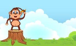 Monkey avec la bande dessinée de banane dans un jardin pour votre conception Photo stock