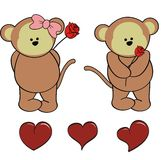 Monkey baby cartoon valentine rose set Stock Images