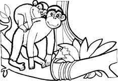 Monkey with baby,coloring book ,black and weit page stock illustration