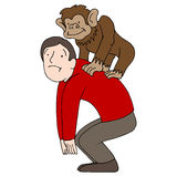Monkey on Back Royalty Free Stock Photo