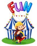 Monkey with balloon for word fun. Illustration vector illustration