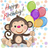 Monkey with balloons. Greeting card Monkey with balloons Stock Photos