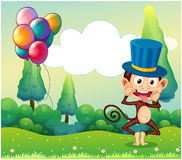 A monkey with balloons in the hilltop Royalty Free Stock Image