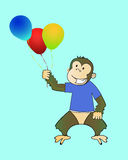 Monkey with balloons Stock Photography