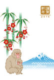 Monkey and Bamboo, Japanese new year card Stock Photos
