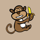 Monkey and banana Royalty Free Stock Photos