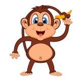 Monkey with banana cartoon Royalty Free Stock Image