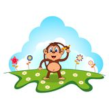 Monkey with banana cartoon in a garden for your design Stock Image