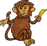Monkey with banana cartoon illustration Stock Photography