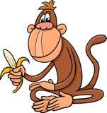 Monkey with banana cartoon Stock Images