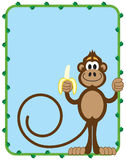 Monkey With Banana. Cartoon monkey inside vine frame with room for copy preparing to eat a banana Stock Image